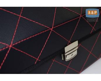 Прострочка органайзера в багажник нитками в форме ромба