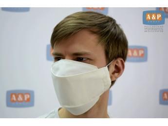 Маска защитная многоразовая для лица, санитарно-гигиеническая. Из ткани. Цвет: белый