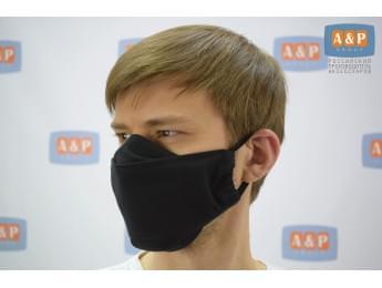 Маска защитная многоразовая для лица, санитарно-гигиеническая. Из ткани. Цвет: черный