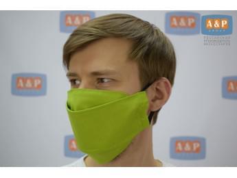 Маска защитная многоразовая для лица, санитарно-гигиеническая. Из ткани. Цвет: светло-зеленый