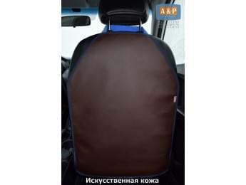 Защитная накидка (чехол) на спинку автомобильного сиденья. Искусственная кожа. Цвет: коричневый с синей окантовкой.