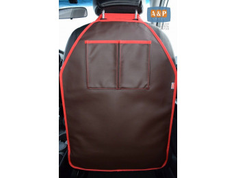 Защитная накидка (чехол) на спинку автомобильного сиденья с карманами. Искусственная кожа. Цвет: коричневый с красной окантовкой.