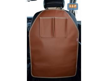 Защитная накидка (чехол) на спинку автомобильного сиденья с карманами. Искусственная кожа. Цвет: светло-коричневый.