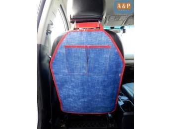 Защитная накидка (чехол) на спинку автомобильного сиденья с карманами. Цвет: джинс с красной окантовкой.