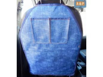 Защитная накидка (чехол) на спинку автомобильного сиденья с карманами. Цвет: джинс.
