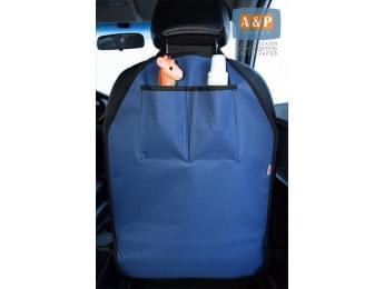 Защитная накидка (чехол) на спинку автомобильного сиденья с карманами. Цвет: темно-синий с черной окантовкой.