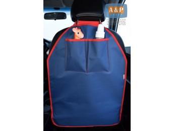 Защитная накидка (чехол) на спинку автомобильного сиденья с карманами. Цвет: темно-синий с красной окантовкой.