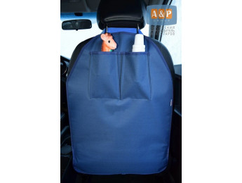 Защитная накидка (чехол) на спинку автомобильного сиденья с карманами. Цвет: темно-синий.