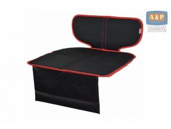 Защитный коврик (накидка) под детское автокресло-бустер. Цвет: черный с красной окантовкой.