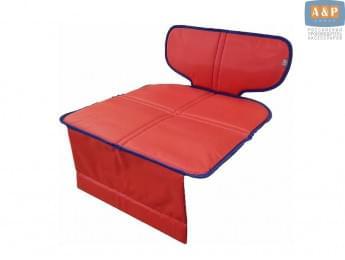 Защитный коврик (накидка) под детское автокресло-бустер. Цвет: красный c синей окантовкой.