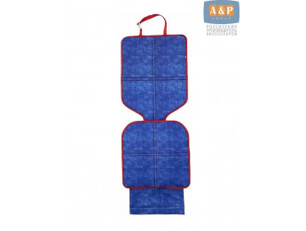 Защитный коврик (накидка) под детское автокресло. Цвет: джинс с красной окантовкой.