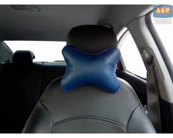 Подушка-косточка автомобильная под шею. Маленькая. Материал: экокожа.