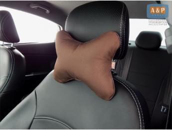 Подушка-косточка автомобильная под шею. Маленькая. Ткань: рогожка. Цвет: коричневый.