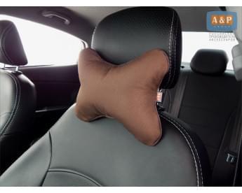 Подушка-косточка автомобильная под шею. Маленькая. Ткань: рогожка.