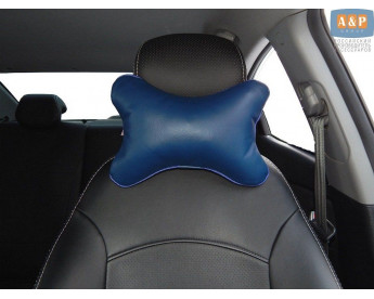 Подушка-косточка автомобильная под шею. Средняя. Материал: экокожа.