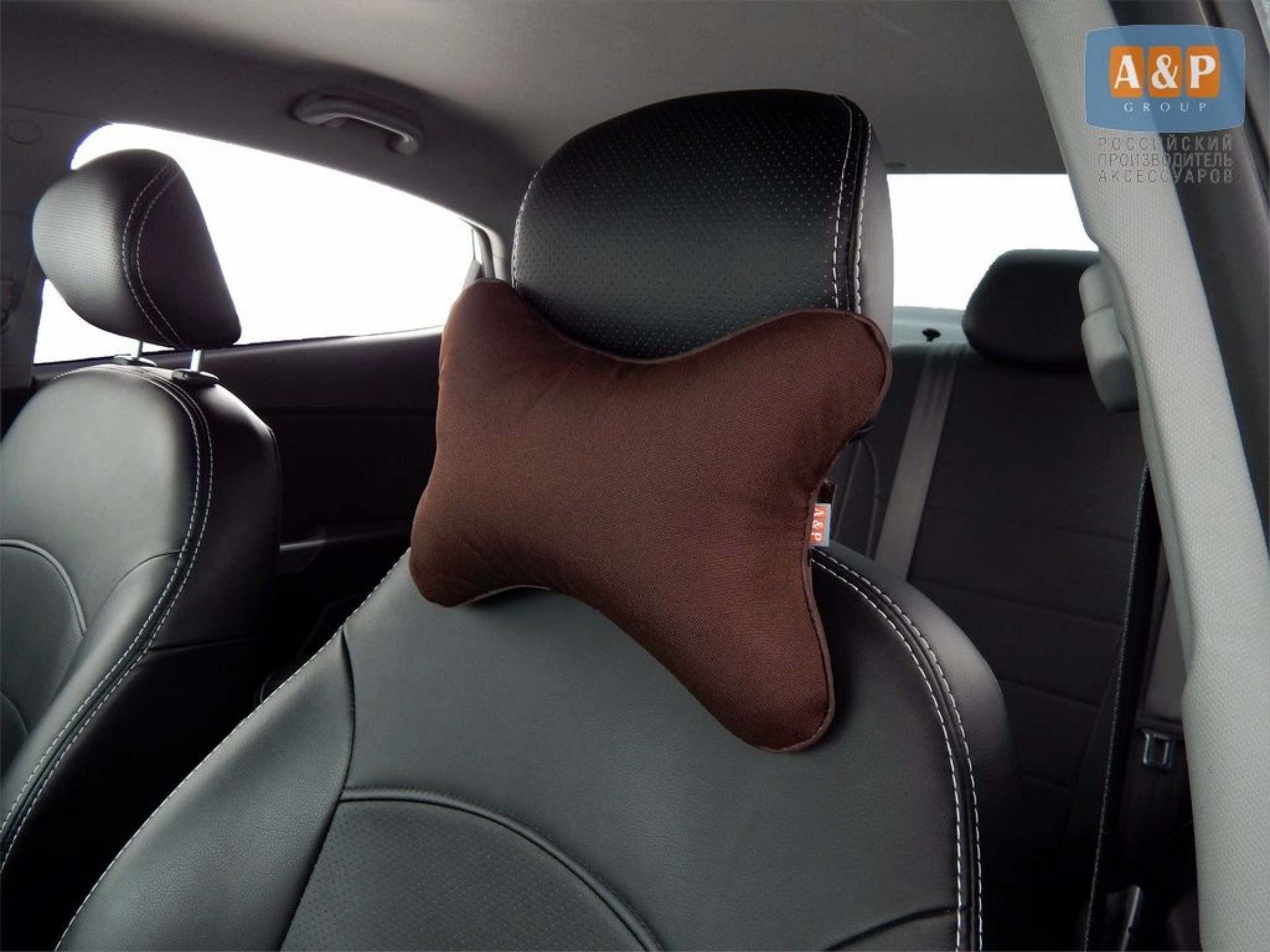 Подушка-косточка автомобильная под шею. Средняя. Ткань: рогожка.