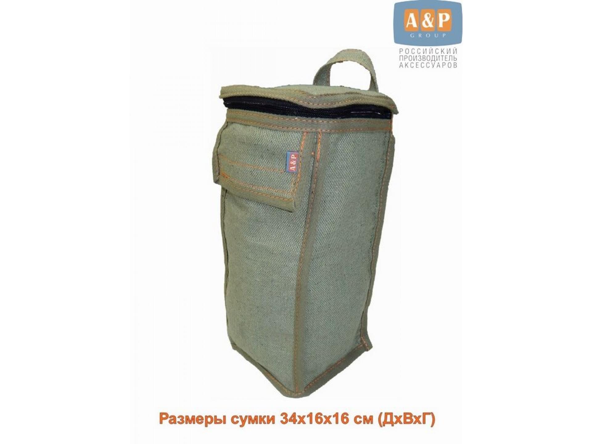 Сумка для домкрата или ножного насоса. Размеры 34х16х16 см. Материал – брезент.