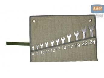 Сумка-скрутка для рожковых (накидных, гаечных, комбинированных) ключей 8-24 мм (11 предметов). Материал: брезент.