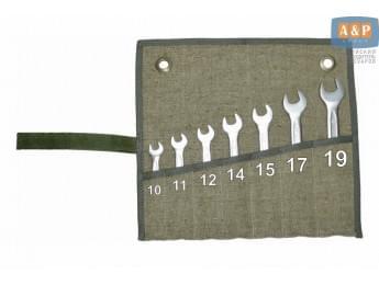Сумка-скрутка для рожковых (накидных, гаечных, комбинированных) ключей 10-19 мм (7 предметов). Материал: брезент.