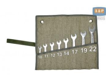 Сумка-скрутка для рожковых (накидных, гаечных, комбинированных) ключей 10-22 мм (8 предметов). Материал: брезент.