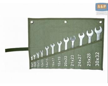 Сумка-скрутка для рожковых (накидных, гаечных, комбинированных) ключей 6-32 мм (12 предметов). Материал: брезент.