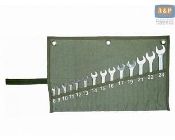 Сумка-скрутка для рожковых (накидных, гаечных, комбинированных) ключей 8-24 мм (14 предметов). Материал: брезент.