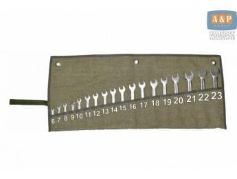 Сумка-скрутка для рожковых (накидных, гаечных, комбинированных) ключей 6-23 мм (18 предметов). Материал: брезент.