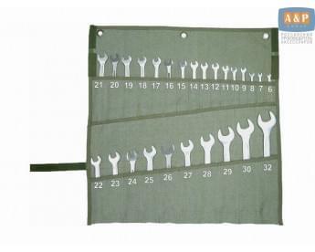 Сумка-скрутка для рожковых (накидных, гаечных, комбинированных) ключей 6-32 мм (26 предметов). Материал: брезент.