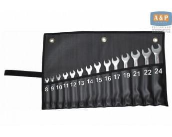Сумка-скрутка для рожковых (накидных, гаечных, комбинированных) ключей 8-24 мм (14 предметов). Искусственная кожа.