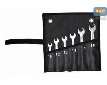Сумка-скрутка для рожковых (накидных, гаечных, комбинированных) ключей 10-19 мм (6 предметов). Искусственная кожа.