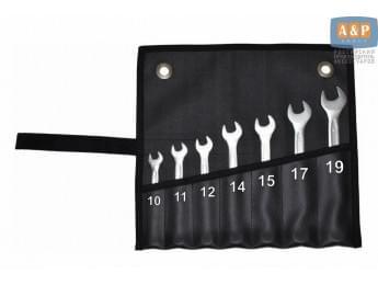 Сумка-скрутка для рожковых (накидных, гаечных, комбинированных) ключей 10-19 мм (7 предметов). Искусственная кожа.
