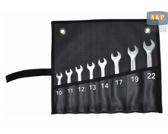Сумка-скрутка для рожковых (накидных, гаечных, комбинированных) ключей 10-22 мм (8 предметов). Искусственная кожа.