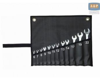 Сумка-скрутка для рожковых (накидных, гаечных, комбинированных) ключей 6-22 мм (12 предметов). Искусственная кожа.